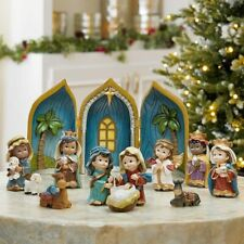 More details for baby nativity table top ornament set, hand crafted & painted with 12 pieces