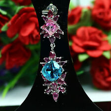 NATURAL VVS 9 X 9 mm. SKY BLUE WITH PINK TOPAZ & RED RUBY PENDANT 925 SILVER