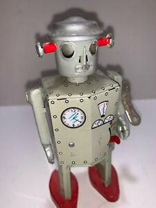 RARE ATOMIC ROBOT MAN NICKEL WIND UP WALKING TOY MECHANICAL WITH KEY 3979