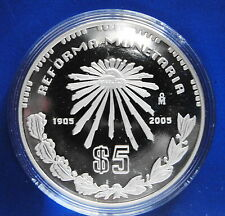 MEXICO SILVER COIN REFORMA MONETARIA 2005. Low Mintage !!
