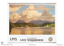 LAKE WINDERMERE CUMBRIA RETRO VINTAGE RAILWAY TRAVEL POSTER ADVERTISING ART