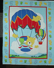 Galaxy Up Up And Away Hot Air Balloon Blue Panel Quilt Fabric Baby Animal Cotton