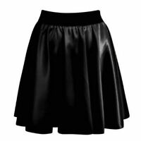 WOMENS WET LOOK SHINY THIN BAND PLEATED LADIES SKATER SKIRT STRETCH WAIST SKIRTS