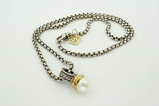 """David Yurman 14k Gold Sterling Silver Pearl Cable Enhancer Pendant Necklace 16"""""""