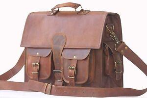 New laptop bag Men Real Goat Leather Vintage Brown Messenger Shoulder Briefcase
