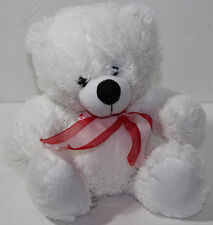 Best Made Toys WHITE TEDDY BEAR With LOVE RIBBON Bow STUFFED PLUSH ANIMAL Toy