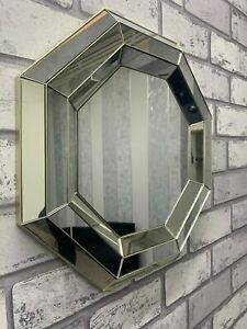 Luxury Contemporary Silver Bevelled Octagonal Geometric Mirror Living Room39.5cm