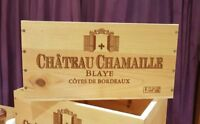 FRENCH CRESTED 6 BOTTLE WOODEN WINE CRATE / BOX  - OFFICE ARCHIVE STORAGE DRAWER