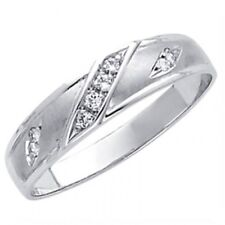14K Solid White Gold .18 Ct Round Simulated Diamond Wedding Band Men's Ring