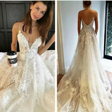 2019 Backless Wedding Dresses Bridal Gowns Spaghetti Straps Lace A Line Custom