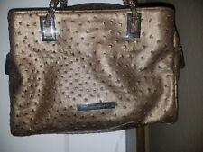 Ivanka Trump Bronze Faux Ostrich Simulated Leather Bronze Hardware Handbag