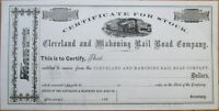 1860 Railroad Stock Certificate: 'Cleveland & Mahoning Rail Road Co.' - Ohio OH