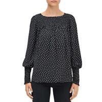 Kate Spade Womens Heartbeat Black Puff Sleeve Smocked Blouse Shirt M BHFO 0152