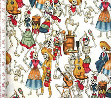 1/2YD Latino FIESTA DE LOS MUERTOS WHT Day of the Dead Skeletons A Henry Fabric