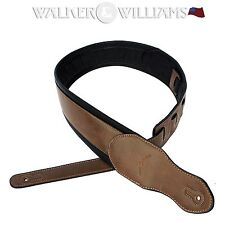 """Walker & Williams G-03 Padded Saddle Brown Leather Guitar/Bass Strap 2 1/2"""" Wide"""
