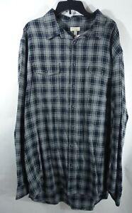 Men Big & Tall Flannel Shirt 4XB Chest Pockets Cotton Gray Plaid Western