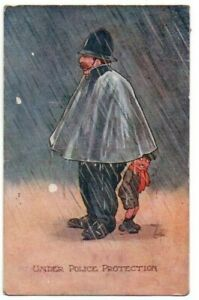 """REG CARTER COMIC POSTCARD """" UNDER POLICE PROTECTION """" HUMOUR SERIES USED 1913"""