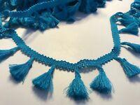 Peacock Blue 4cm Trim Tassel Fringe Cotton Lace Ribbon Price per 30cm DIY Craft
