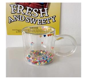 200ml Double Wall Confetti Glass Mug Goblet Latte Tea Ice Cream Cute Hearts Star