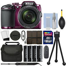 Nikon Coolpix B500 16MP Digital Camera 40x Optical Zoom Purple Full-HD+ 16GB Kit