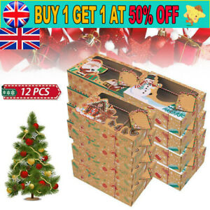 12PCS Christmas Cookie Box Kraft Paper Candy Gift Boxes Bags Food Packaging Box'