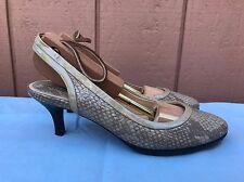 EUC COLE HAAN AIR Women US 6B Leather Round Toe Slingback Snake Print Shoe