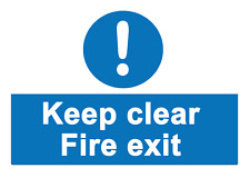 2 x  KEEP CLEAR - fire exit - Info Sign Self Adhesive Vinyl Waterproof Sticker