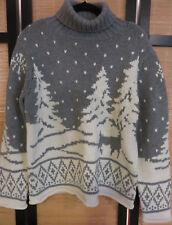 Liz Claiborne Turtleneck Sweater - Gray & White Winter, Large + FREE GIFT