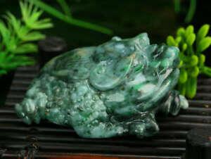Cert'd 2 Color Natural Grade A Jade jadeite Sculpture Statue Toad a249452