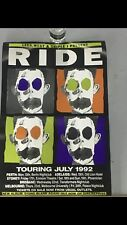 RIDE TOURING JULY 1992 RECORD SHOP PROMOTIONAL POSTER
