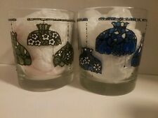 2 Retro Stained Glass tiffany Lamp style Drinking highball Glasses Rare Barware