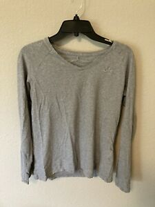 Nike T Shirt Size 12/14 Large Gray Long Sleeve Girls Cotton Blend V Neck