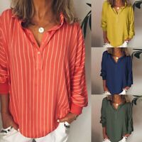 Fashion Womans Loose Casual Striped Button Lapel Long Sleeve Shirt Top Blouse