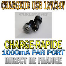 12V/24V MINI CHARGEUR ADAPTATEUR ALLUME CIGARE 2 PORTS USB 1000mA PAR PORT RAPID