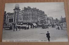 Postcard  WW1  Rouen Street view With message with Censor Stamp