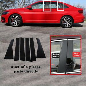 6pc Set Pillar Posts Door Trim Piano Cover Black Fit For VW Jetta 2019-2021