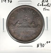Canada 1936 Silver Dollar $1 AU Colourful Toning