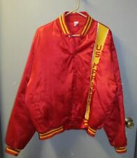 VTG US MARINES RED SATIN & YELLOW BALL JACKET SNAP FRONT NYLON XL