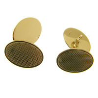 HALLMARKED 9 CARAT GOLD CUFFLINKS WITH TRADITIONAL ENGINE TURNED PATTERN
