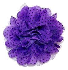"Purple 4"" polka dot chiffon tulle mesh flowers hair bow & headbands"