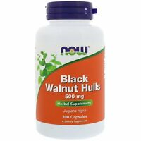 Now Foods Black Walnut Hulls 500mg, 100 Capsules A Dietary Supplement Herbal Sup
