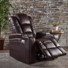 Everette Tufted Brown Leather Power Recliner with Arm Storage and USB Cord