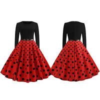 Women's Vintage 50s Polka Dot Long Sleeve Party Evening Rockabilly Swing Dress