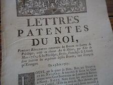 LETTRES PATENTES ROI REGLEMENTS BREVETS LETTRES PRIVILEGES ART & METIERS 1767