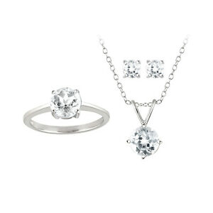4ct White Topaz Pendant, Earrings & Ring Solitaire Set in 925 Silver