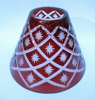 VINTAGE LAMP SHADE LIGHT RUBY RED CUT CLEAR STARS CONE SLANT BOHEMIAN CUT