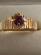 purple 9ct yellow gold gf amethyst cz ring size 8 us