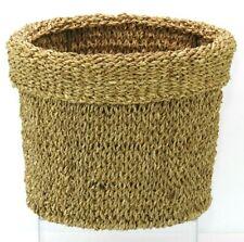 Waste Basket Natural Woven Seagrass Bathroom Trash Can Office Storage Organizer