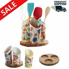 Kitchen Utensil Holder 3 Compartment Colorful Removable Base Display Organizer