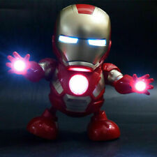 Dancing Iron Man Avengers Toy Figure Dance Robot w/LED Flashlight & Music Sound